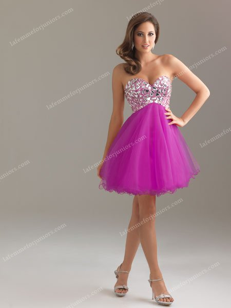 Night Moves 6410 Cheap Short Strapless Purple Lace Up Short Cocktail Dresse