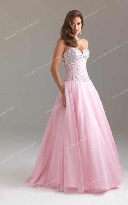 A Line Strapless Sweetheart Neckline Night Moves 6439 Sequined Pink Long Pr