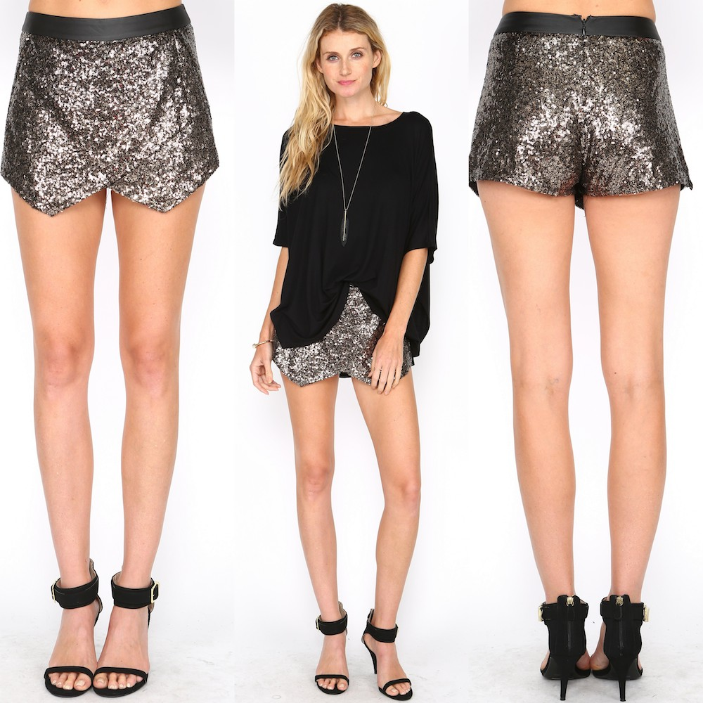 GOLD SEQUIN LEATHER STRAP SKORTS! AT WWW.SHOPPUBLIK.COM