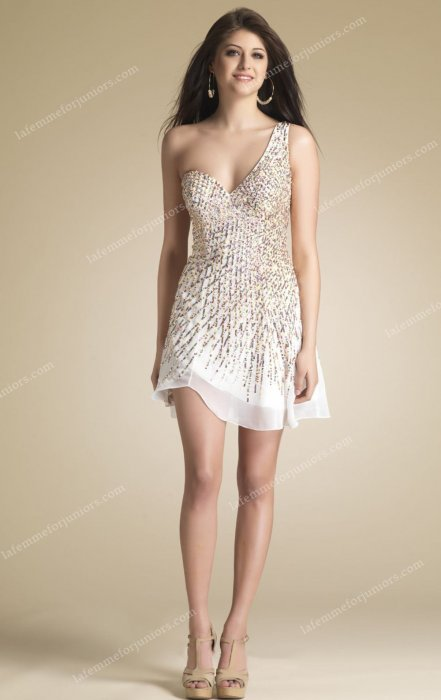 Beaded Chiffon Single Shouldered Dave and Johnny 7744 Homecoming Dress Chea