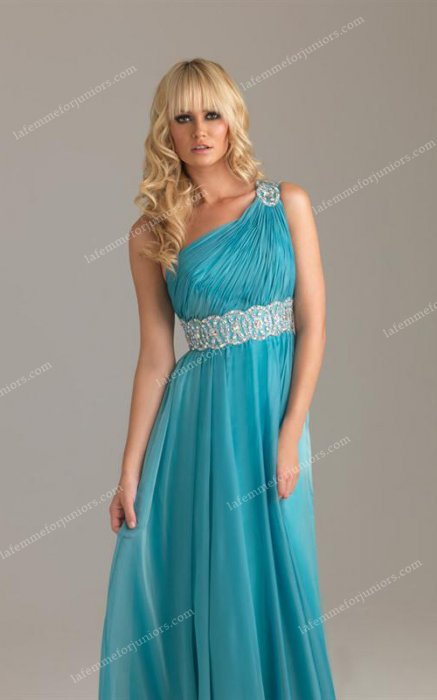 2014 Blue One Shoulder Night Moves 6475 Chiffon Prom Long Dresses [Night Mo