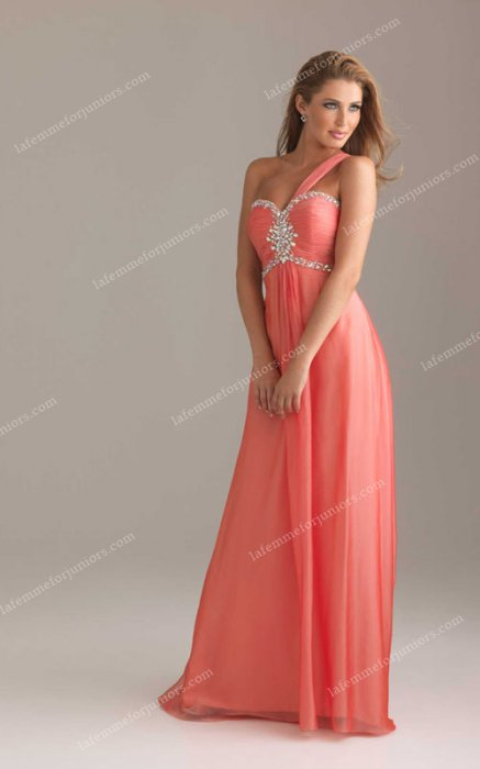 Chiffon Coral One-shoulder 6415 Night Moves Prom Dresess Long [Night Moves