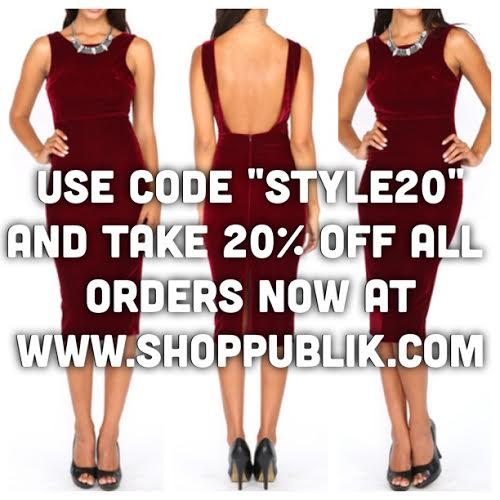 GO TO WWW.SHOPPUBLIK.COM AND TAKE 20% OFF EVERYTHING!!!
