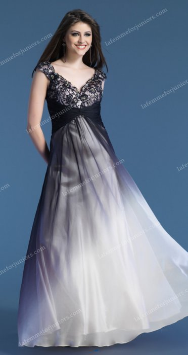 Lace Gown Prom Dress by Dave and Johnny 7250 With Ombre Skirt Cap
