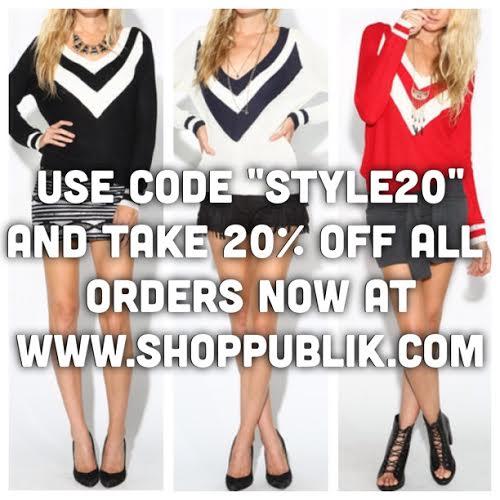 GO TO WWW.SHOPPUBLIK.COM 20% OFF EVERYTHING