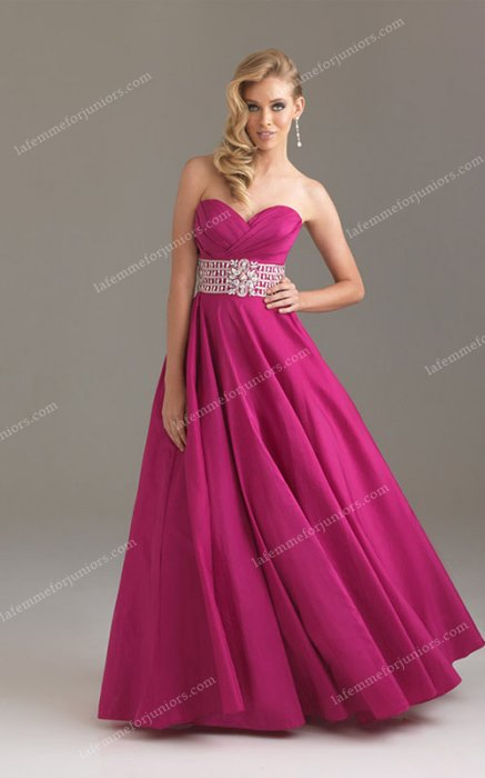Fuchsia Strapless 6416 Night Moves Ballgown for Long Prom Dresses