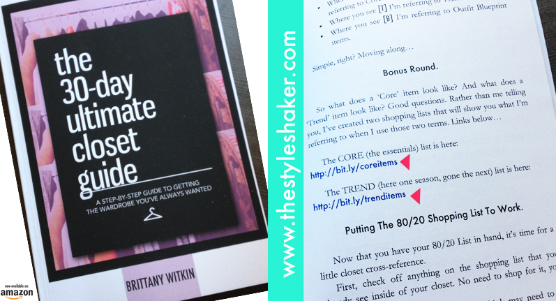 TEAR SHEETS FROM MY BOOK, THE 30-DAY ULTIMATE CLOSET GUIDE: Core & Trend Sh