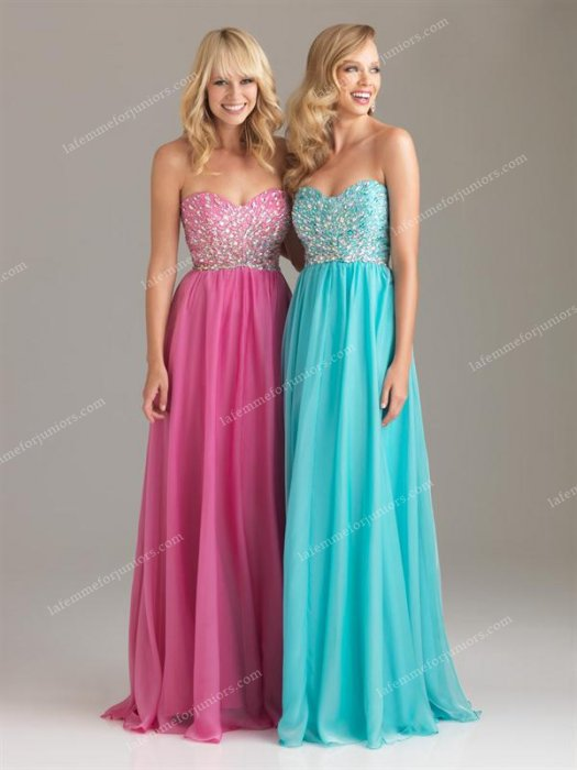 Strapless 6432 Night Moves Sparkly Pink Long Prom Dresses Discount [Night M