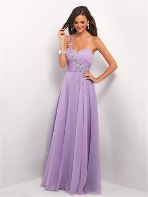 Gorgeous One Shoulder Strapless Pleated and Beaded Chiffon Prom Dress PD214