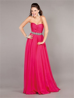 Strapless Crossover Ruched Bodice Beaded Waist Belt Prom Dress PD2140