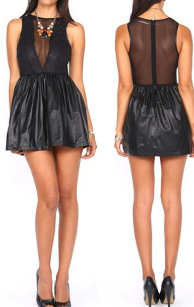SHEER lace Leather Skater Dress! WWW.SHOPPUBLIK.COM