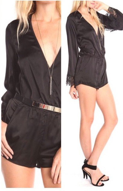 WRAP ROMPER WITH LACE SLEEVES! WWW.SHOPPUBLIK.COM