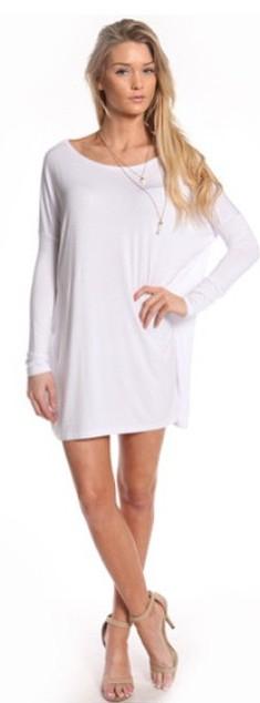 WHITE LONG SLEEVE TUNIC DRESSES WWW.SHOPPUBLIK.COM