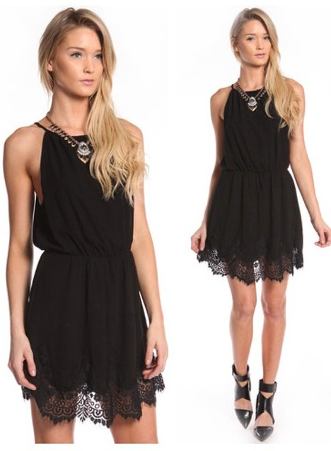 FLORAL LACE HEM DRESS WWW.SHOPPUBLIK.COM