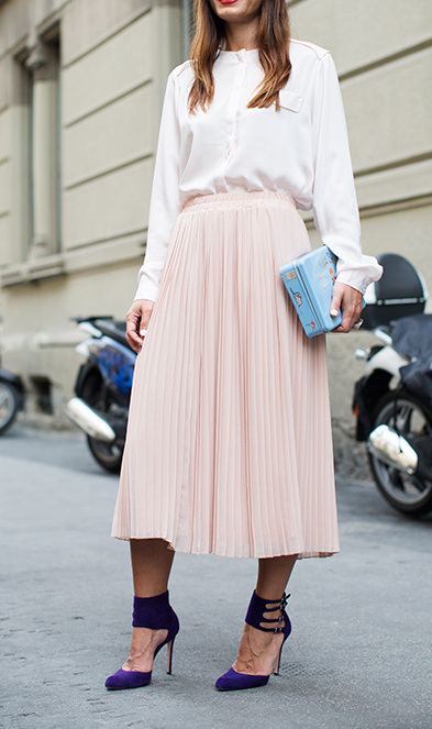 PEACH WOVEN PLEATED MIDI SKIRTS WWW.SHOPPUBLIK.COM