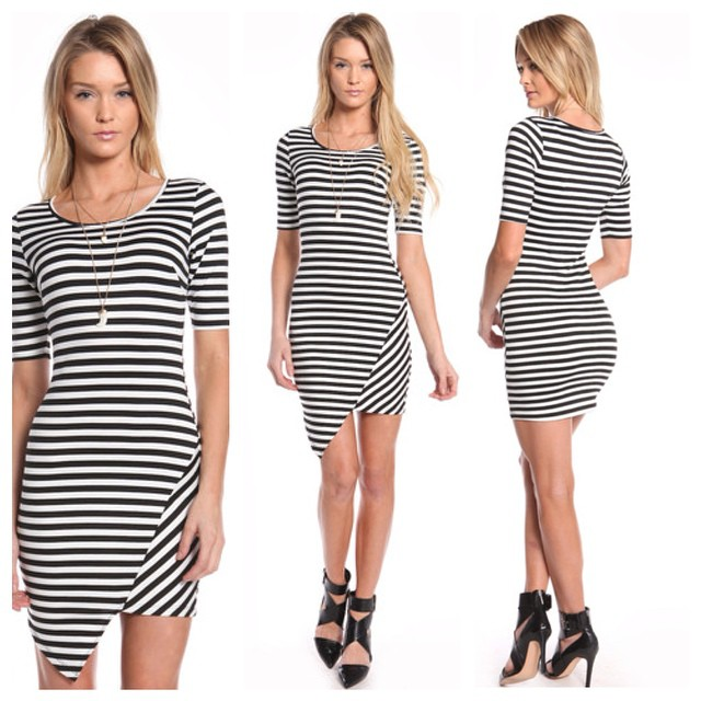 QUARTER SLEEVE ASYMMETRICAL STRIPED DRESS WWW.SHOPPUBLIK.COM