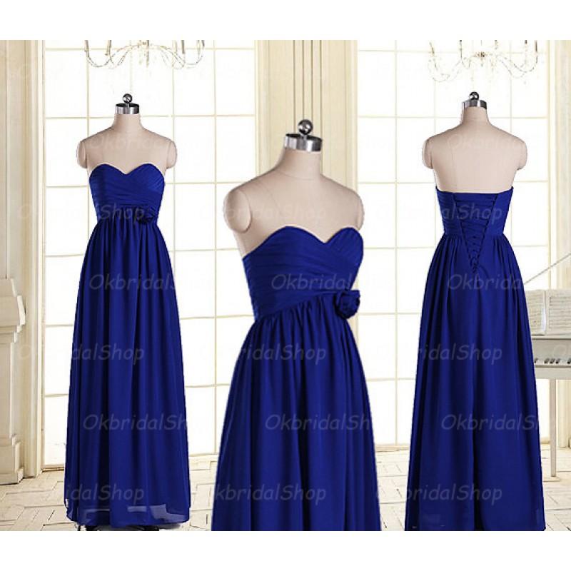 Long bridesmaid dresses royal blue bridesmaid for Royal blue wedding dresses cheap