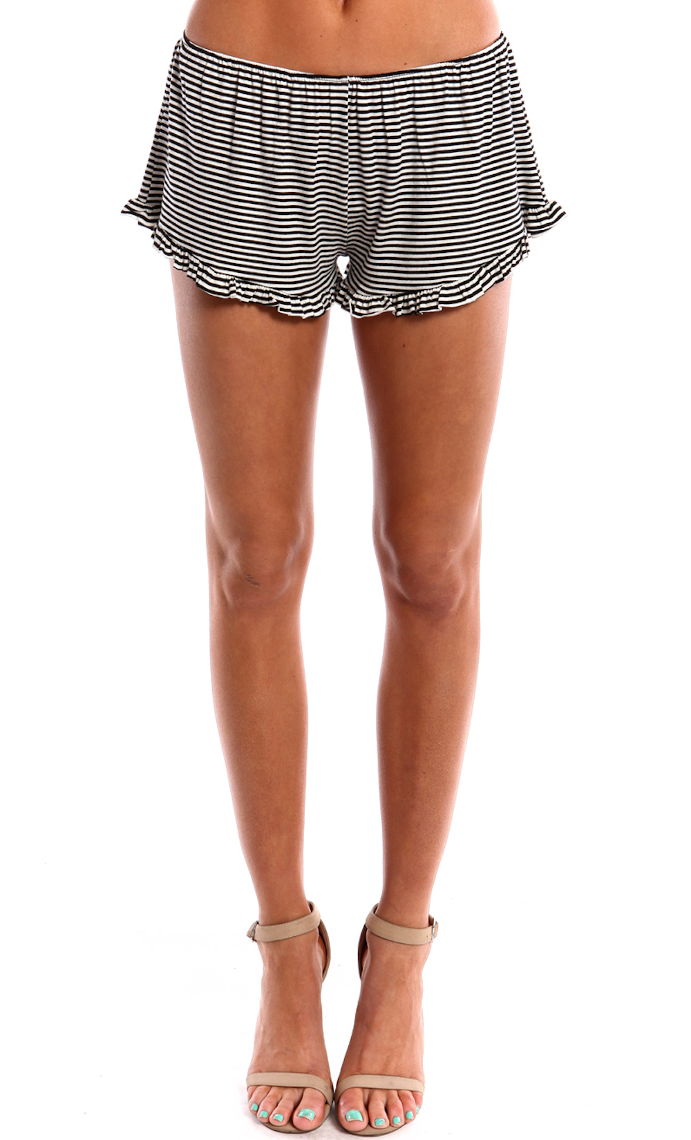 RUFFLED STRIPED SHORTS WWW.SHOPPUBLIK.COM